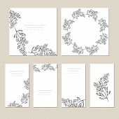 Botanic Card With Wild Flowers, Leaves. Spring Ornament Concept. Floral Poster, Invite. Vector Layou poster