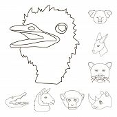 Wild Animal Outline Icons In Set Collection For Design. Mammal And Bird Vector Symbol Stock  Illustr poster