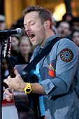 NEW YORK - OCTOBER 21: Chris Martin of Coldplay performs live for the Toyota Concert Series on NBC's Today Show at Rockefeller Plaza on October 21, 2011 in New York City.