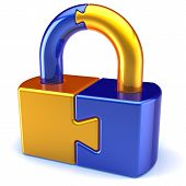 Security lock puzzle padlock icon concept