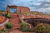 The Stairway Of An Abandoned Trading Post Along The Old Route 66 In Arizona Known As Two Guns. Befor poster