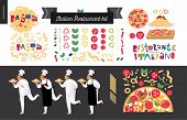 Постер, плакат: Italian Restaurant Set Branding Logo And Menu Constructor Kit Restaurant Logo Cooks And Waiter