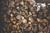 Pile Of Firewood. Preparation Of Firewood For The Winter And Use For Cooking, Firewood Background, S poster