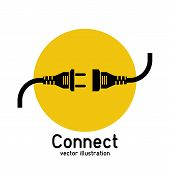 Connection Concept, Icon Isolated On White Background. Vector Illustration Flat Design. Connecting P poster