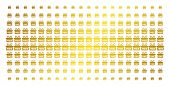 Free Gift Icon Gold Halftone Pattern. Vector Free Gift Shapes Are Organized Into Halftone Grid With  poster