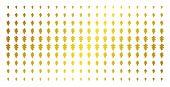 Oak Leaf Icon Gold Colored Halftone Pattern. Vector Oak Leaf Items Are Arranged Into Halftone Matrix poster