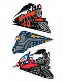 Mascot Icon Illustration Set Of Vintage Steam Locomotive Or Steam Engine Railway Train Speeding Up   poster