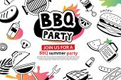 Summer Bbq Party In Doodles Symbol And Objects Icon For Background. Barbecue Picnic Invitation Poste poster