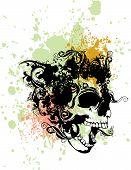 Постер, плакат: Векторная Иллюстрация панк брызги череп