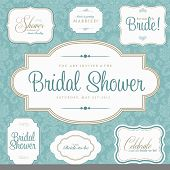 stock photo of bridal shower  - Vector Bridal Shower Frame Set - JPG