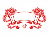 Chinese New Year red mighty dragons scroll isolated