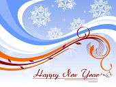 abstract snowflakes,  background with floral wave concept for happy new year