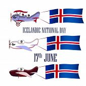 Icelandic National Day, Set With Three Planes And National Flags On An Isolated Background poster