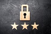 Wooden Padlocks And Three Stars. Security, Security Of Users And Business. Internet Security, Antivi poster