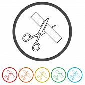 Scissors Cut Ribbon, Cutting Ribbon, 6 Colors Included, Simple Icons Set poster