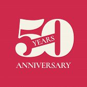 50 Years Anniversary Vector Icon, Logo. Design Element With Red Color Background And Number For 50th poster
