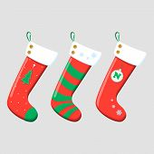 Christmas Stockings Red Green Colors. Hanging Holiday Decorations For Gifts. poster
