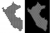 Honeycomb Peru Map. Vector Territory Scheme In Black And White Versions. Abstract Peru Map Compositi poster