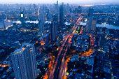 Aerial View Of Bangkok Modern Office Buildings, Condominium, Living Place In Bangkok City Downtown W poster