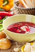 image of pampushka  - Beetroot and Cabbage Soup with Bread - JPG