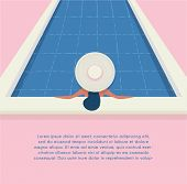 A Young Beautiful Woman In A Hat Relaxes At The Swimming Pool. Wellness Concept. Spa And Relax, Woma poster