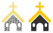 Christian Church Collage Icon Of Zero And One Symbols In Various Sizes. Vector Digital Symbols Are F poster