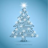 image of microchips  - Vector christmas tree from digital electronic circuit  - JPG
