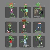 Colorful Zombie Scary Cartoon Cards Halloween Magic People Body Fun Group Cute Green Character Part  poster