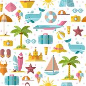 Summer Flat Endless Background With Holyday And Summer Seasonal Elements - Palm, Case, Airplan, Sun, poster
