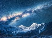 Milky Way And Beautiful Manaslu, Himalayas. Amazing View With Himalayan Mountains And Starry Sky At  poster