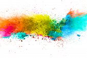 Multicolor Powder Explosion On White Background. Colored Cloud. Colorful Dust Explode. Paint Holi.ab poster