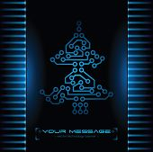 Christmas tree design. Technology background.