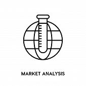 Market Analysis Vector Icon On White Background. Market Analysis Modern Icon For Graphic And Web Des poster