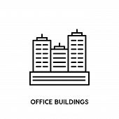 Office Buildings Vector Icon On White Background. Office Buildings Modern Icon For Graphic And Web D poster