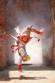 Hanuman (monkey God) Somersaults In Khon Or Traditional Thai Pantomime As A Cultural Dancing Arts Pe poster