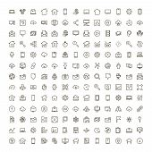 Web Icon Set. Collection Of High Quality Outline Website Pictograms In Modern Flat Style. Black Inte poster