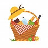 Wicker Picnic Basket With Wine And French Bread. Opened Food Hamper With Blanket For Romantic Picnic poster