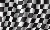 Racing Flag 3d Illustration Background. Race Sport And Rally Competition Checkered Pattern Of Black  poster