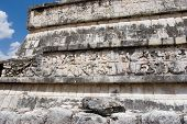 Mayan Stone Wall At Chichen Itza.