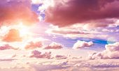 Beautiful Blue Sky With Clouds Background. Sky Clouds. Sky With Clouds Weather Nature Cloud Blue poster