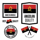 Постер, плакат: Angola Quality Isolated Label Set For Goods Exporting Stamp With Angolan Flag Nation Manufacturer