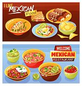 Mexican Food Restaurant Advertisement 2 Realistic Horizontal Banners With Guacamole Quesadilla Hot C poster