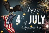 Inscription Happy 4th of July with USA flag. National day. poster