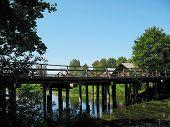 Wooden Bridge And Bicycles