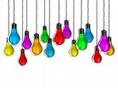 stock photo of light-bulb  - Illustration of lamps of different colours on a white background - JPG