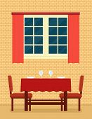 Kitchen Interior With Laid Table And Romantic Setting. Romantic Interior For Restaurant Or Cozy Kitc poster