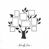 Family Tree With Photo Frames. Memories. Insert Your Photo Into Template Frames. Collage Vector Illu poster