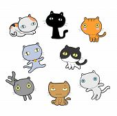 Different Cartoon Cats Set. Doodle Cats With Different Emotions. Cat Handmade. Isolated Cat For Desi poster