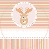 cute deer face animal on brown background vector