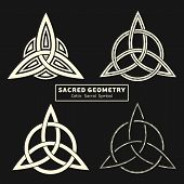 Set Of Four Vector Celtic Sacral Symbols. Magic Sign. Sacred Geometry. Sacred Symbol Of Vikings. Anc poster